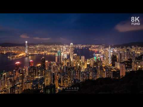 8K hong kong night scene at victoria peak time lapse