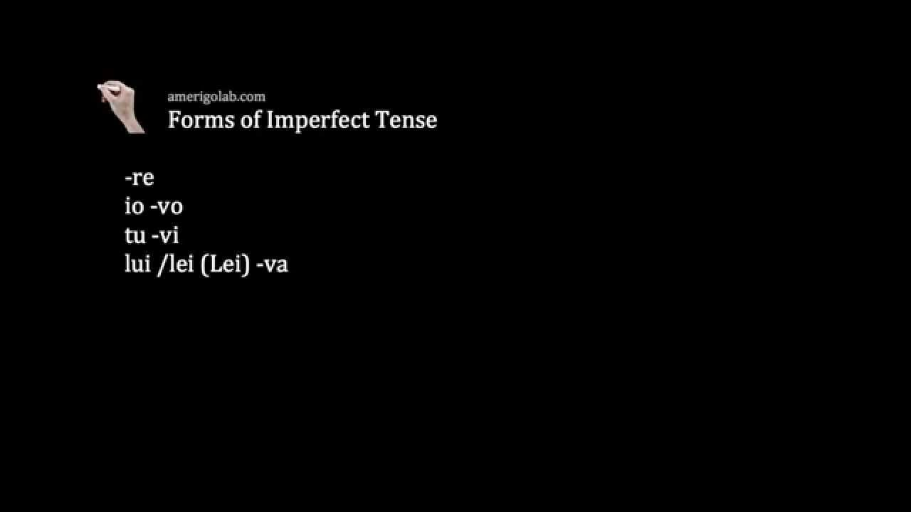 Forms Of The Imperfect Tense Italian 102