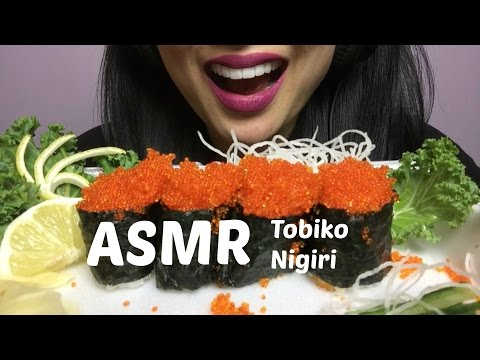ASMR Tobiko Nigiri (Crunchy Flying Fish Roe) NO TALKING Eating Sounds | SAS-ASMR