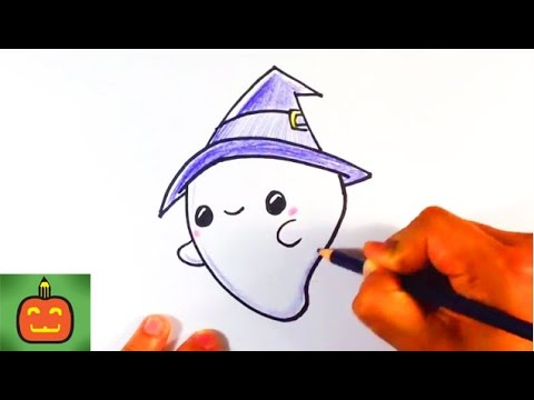 How to Draw a Cute Halloween Ghost with a Hat - Halloween ...