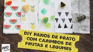 DIY PANOS DE PRATO CRIATIVOS COM CARIMBOS DE FRUTAS E LEGUMES