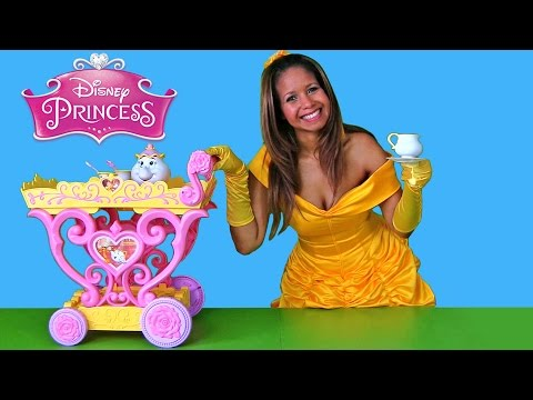 Disney Princess Belle Musical Tea Party Cart!    Disney Toy Review    Konas2002