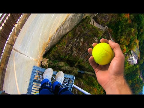 Can We CATCH a Tennis Ball While BUNGEE JUMPING?