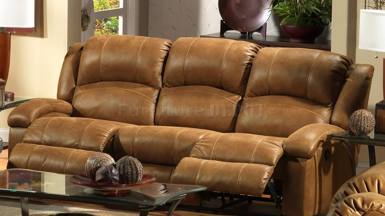 Distressed Leather Reclining Sofa - YouTube