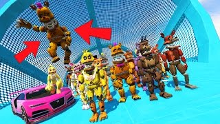 all the animatronics stunt off the world s biggest best ramps ever gta 5 mods fnaf funny moments