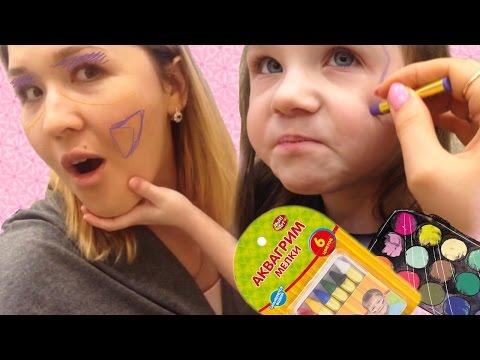 АКВАГРИМ для детей Мелки Как нарисовать на лице бабочку Для начинающих Draw On The Face
