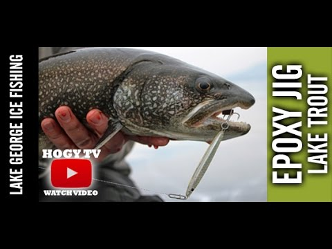 Lake trout ice fishing with epoxy jig lures on lake george for Lake trout fishing lures