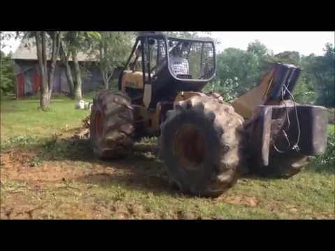 John Deere skidder clearing trees @ the off grid homestead