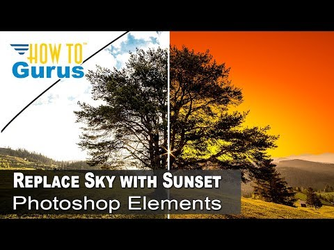 How To Change the Sky Background Behind Tree Photo Manipulation in Photoshop Elements 15 14 13 12 11