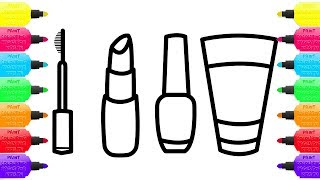 MAKEUP MIRROR LIPSTICK COLORING PAGES AND DRAWING FOR CHILDREN