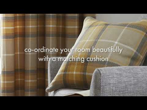 Caterine Lansfield - Brushed Heritage Check Ochre Eyelet Curtains