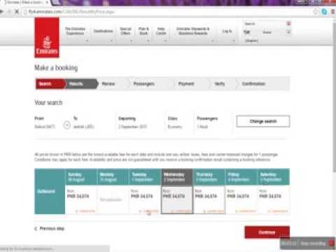 Emirates online Booking Problems selecting  lowest prices