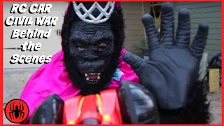 RC CAR CIVIL WAR behind the scenes Monkey Queen Gorilla, Captain America, Iron Man SuperHero Kids