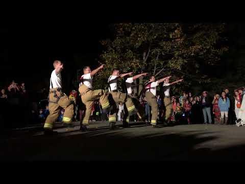 Firemen Dancing 2017 Halloween on Pearl Street, Camden, Maine