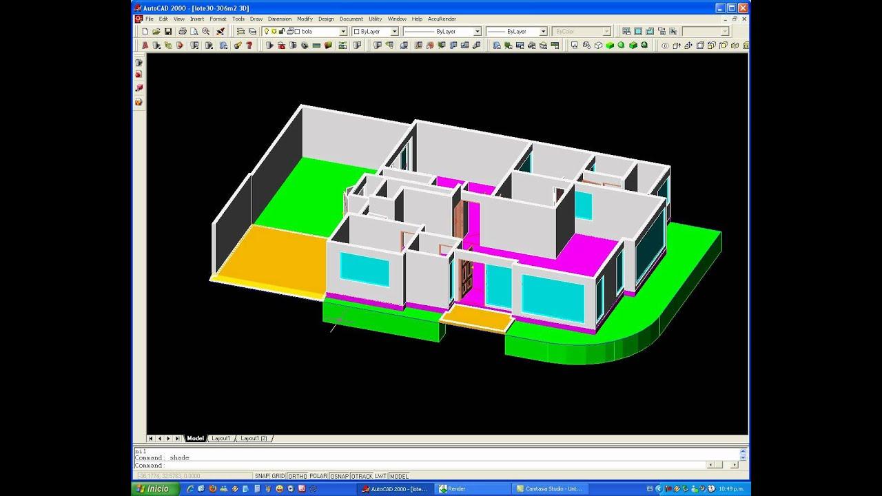 Tutorial autocad proyecto completo de una casa en 3d 1de2 for Hacer planos 3d