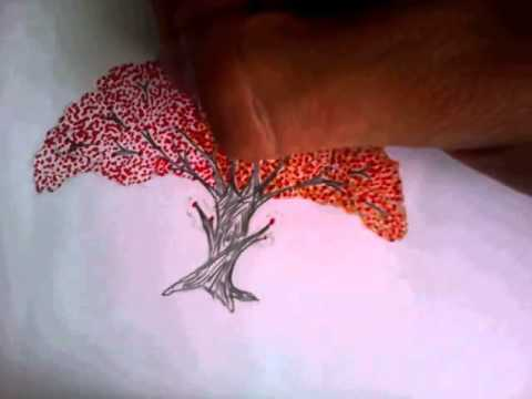 how to draw a cherry blossom tree basic