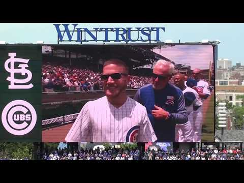 Medal Of Honor Recipient  Kyle Carpenter Gets A Standing Ovation @ Wrigley Field 6/3/2017