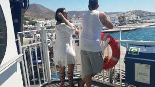 Hungover boat ride from Mykonos to Santorini