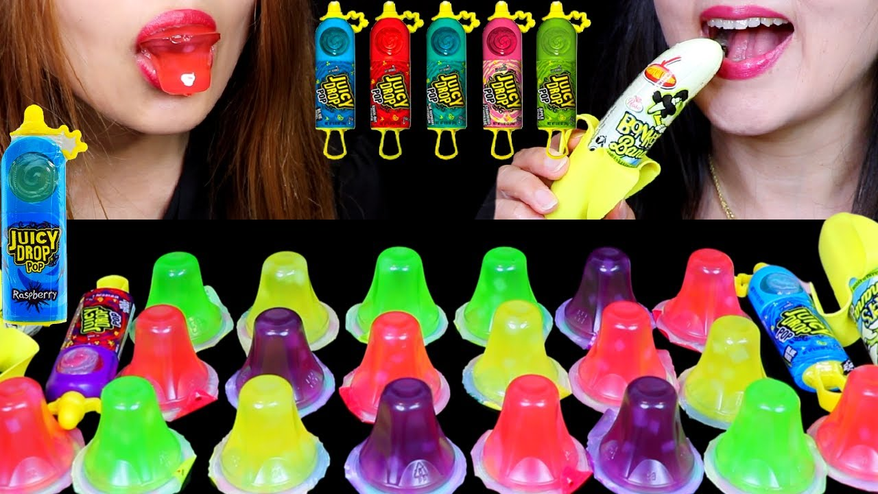 FRUIT JELLY CUPS + SOUR CANDY JUICY DROP POPS + BANANA SPRAY (EATING SOUNDS) | Kim&Liz Too