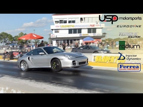 porsche 996 gt2 wheel stand 9 7 152mph at fl2k13 usp motorsports youtube. Black Bedroom Furniture Sets. Home Design Ideas
