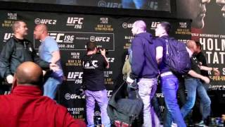 UFC 196: CONOR MCGREGOR VS NATE DIAZ FACEOFF NEARLY STARTS A BRAWL