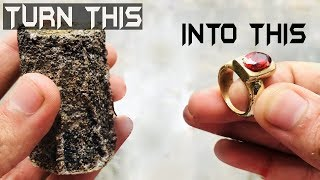 Turning Old Brass Trash Into Golden Shiny Ring || TRASH to TREASURE
