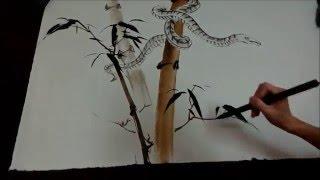 20160430陳永浩CHEN YUNG HAO老師授課Ink and color PAINTING 畫蛇 Painted snake