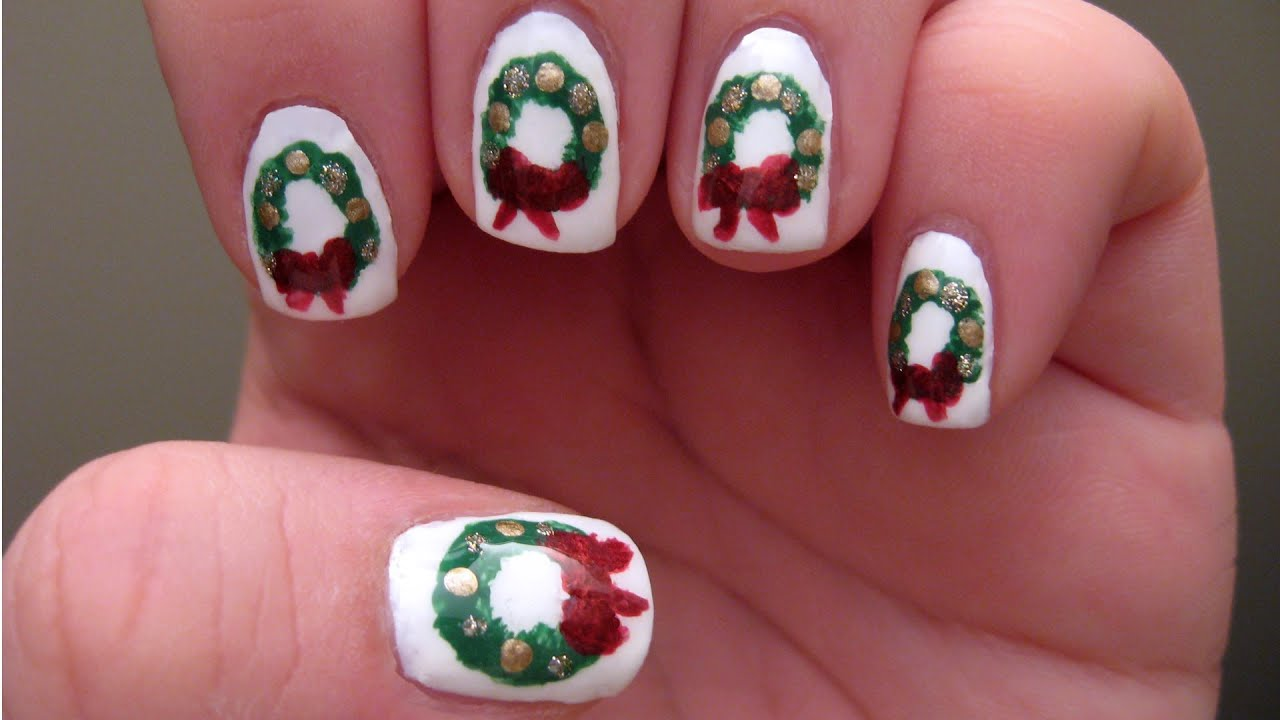 Christmas wreath nails quick and easy youtube christmas wreath nails quick and easy prinsesfo Image collections