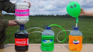 Experiment: Coca Cola & Sprite & Fanta VS Mentos. Domino Chain Reaction!