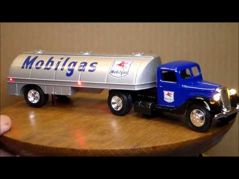 Truck with mobilgas tanker