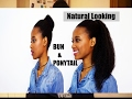 Natural looking Bun and Ponytail with Marley hair - PROTECTIVE STYLE TUTORIAL (4C hair)