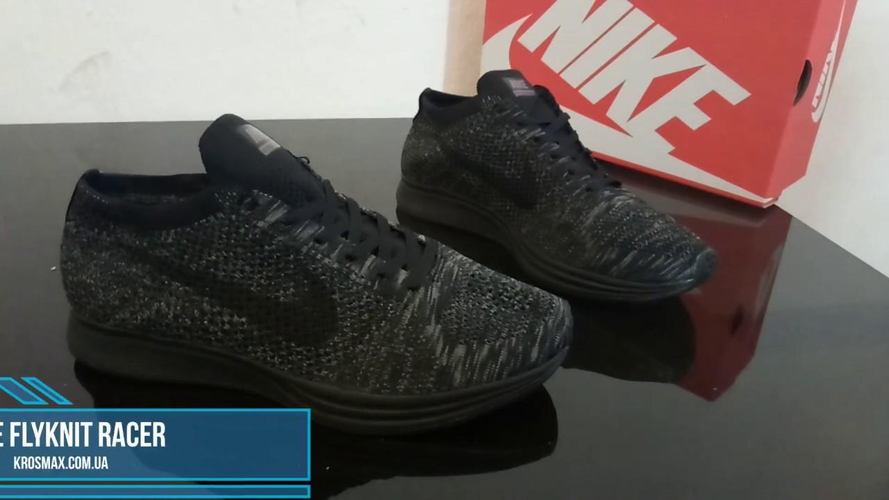 d050630b9cc6 Живой видео обзор Nike Flyknit Racer Black (реплика) - YouTube
