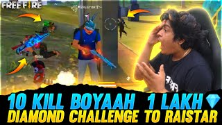 Raistar 10 Kills Solo Vs squad 1 Lakh Diamond challenge | GyanGaming Op Reaction | Garena Free Fire