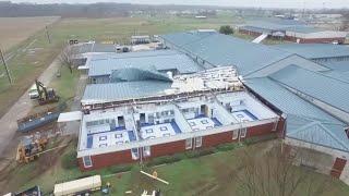 Drone footage: Benton Middle school storm damage
