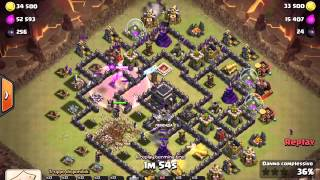 Clash of Clans: TH9 Stoned GoHo 4 EQ | 3 Star | Clan War #8
