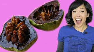 BLACK SAPOTE - chocolate pudding fruit - TASTE TEST | FRUITY FRUITS
