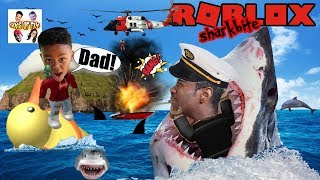 FATHER AND SON ATTACKED BY SHARKS IN ROBLOX!!! HELP US