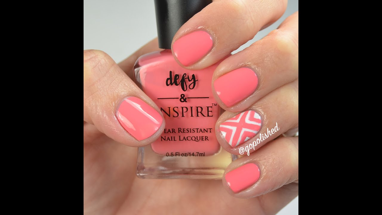 Nail Tutorial: Criss Cross Design (coral and white) - YouTube