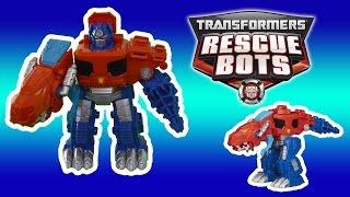 Transformers Rescue Bots Optimus Prime Dinobots transformation primal stop motion dino toys video