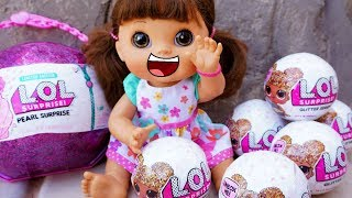 BABY ALIVE Opens New Glitter LOL SURPRISE DOLLS And PEARL SURPRISE BALL!
