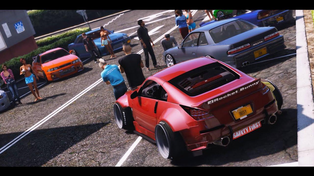 Car Youtube: GTA 5 Nissan Car Meet (Real Car Mods)