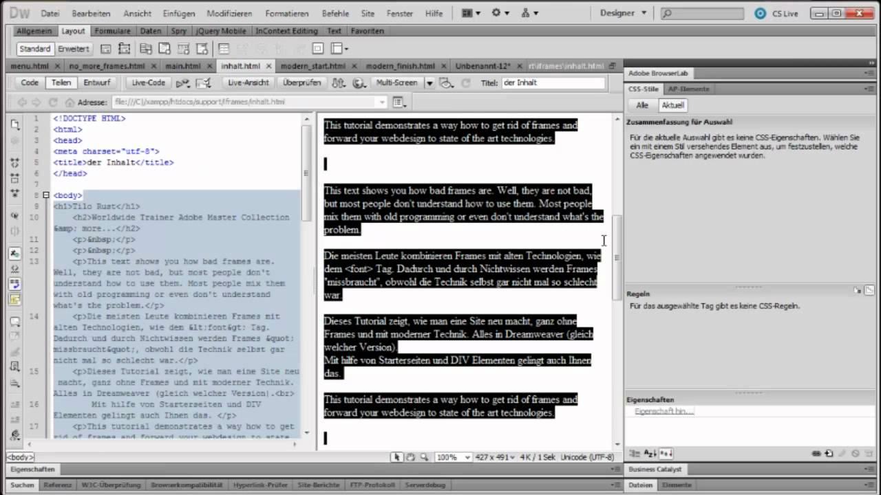 Dreamweaver Tutorial Frames loswerden Teil 2: iFrames durch DIV ...