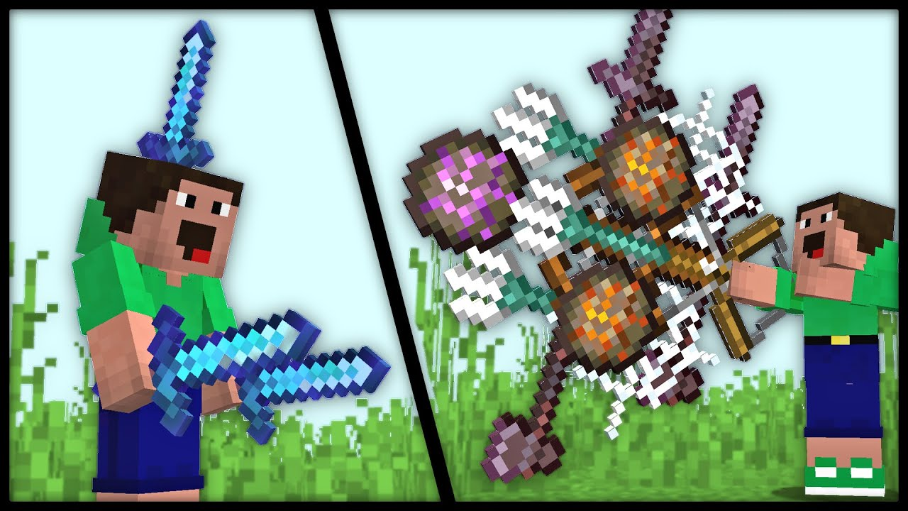 My TOP 11 OVERPOWERED WEAPONS in Minecraft [11 Datapack Recap]