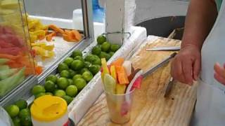 Joyce Blonskij In Cabo San Lucas Eats Healthy... Fruit With Chili Sauce.mp4