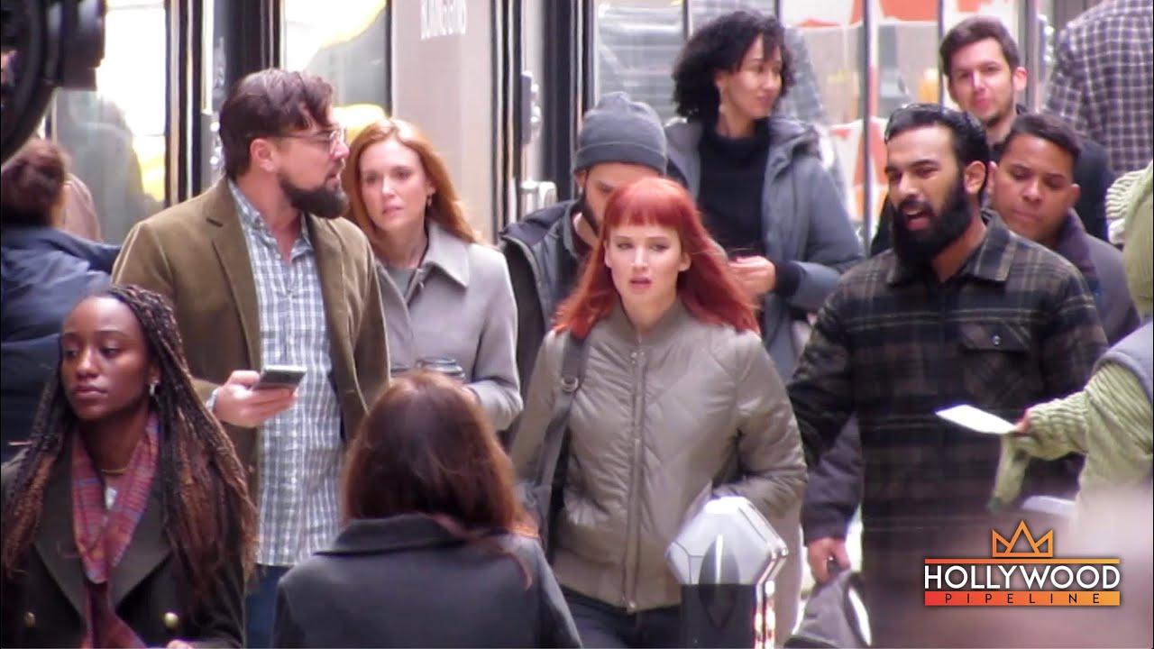 "Download Leonardo DiCaprio and Jennifer Lawrence film tense scene for ""Don't Look Up"" in Boston"