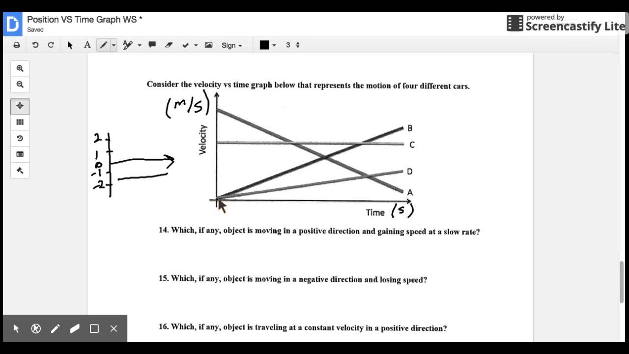 Position vs Time Worksheet Last Page YouTube – Position Vs Time Graph Worksheet