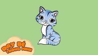 Bé tập vẽ tranh con vật   Hướng dẫn học vẽ con mèo bằng bút chì