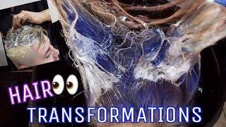 HAIR TRANSFORMATIONS Blue BLEACHED Hair To Deep Purple & Blond To Grey - Alexisjayda