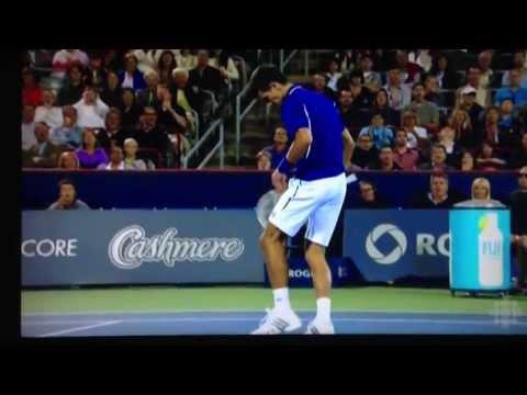 Rafael Nadal ball hits Novak Djokovic in the face - DJOKOVIC PISSED OFF -