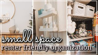 SMALL SPACE ORGANIZATION ON A BUDGET 2021 / RENTER FRIENDLY KITCHEN ORGANIZATION HACKS & IDEAS